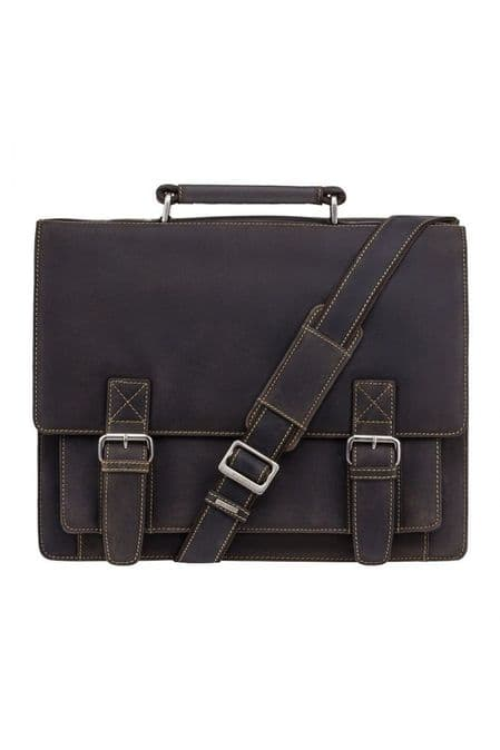 Hercules - Large Multi Compartment Briefcase in Brown